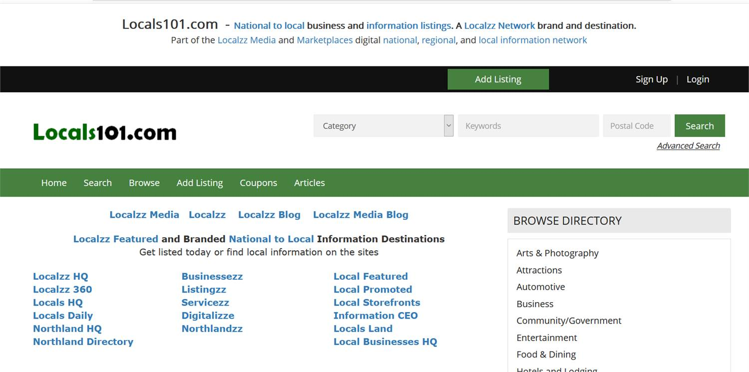 Locals101.com  - National to local business and information listings.